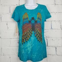 Wrangler graphic woman Tee t-shirt peacock wings cross Mediu