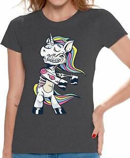 Halloween T-Shirt Zombie Unicorn Shirts for Women
