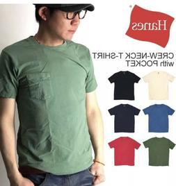 Hanes Men's Pocket T-Shirt Tagless ComfortSoft Crewneck 4-Pa