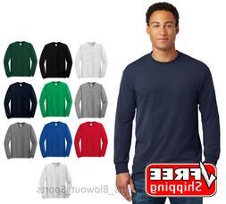 Gildan Heavy Cotton Long Sleeve T Shirt Mens Blank Casual Pl