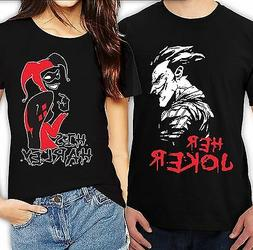 Her Joker His Harley Halloween couple matching funny cute T-
