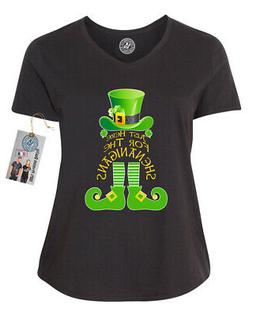 Here for Shenanigans St Pattys Plus Size Womens V Neck