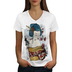 Wellcoda Japan Woman Beauty Womens V-Neck T-shirt, Oriental