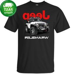 Jeep Wrangler Black T Shirt Car Logo Men's USA Short Sleeve