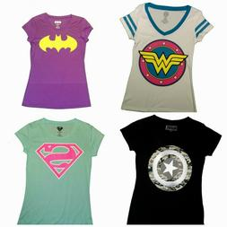 Juniors T-Shirts Batman Superman Wonder Woman Marvel Captain