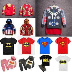 Kids Boy Girl Superhero Hoodie Coat Sweatshirt T-Shirts 2Pcs