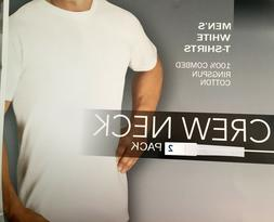 Kirkland Men's WHITE t-shirt 2 pack CREW Neck large L long T