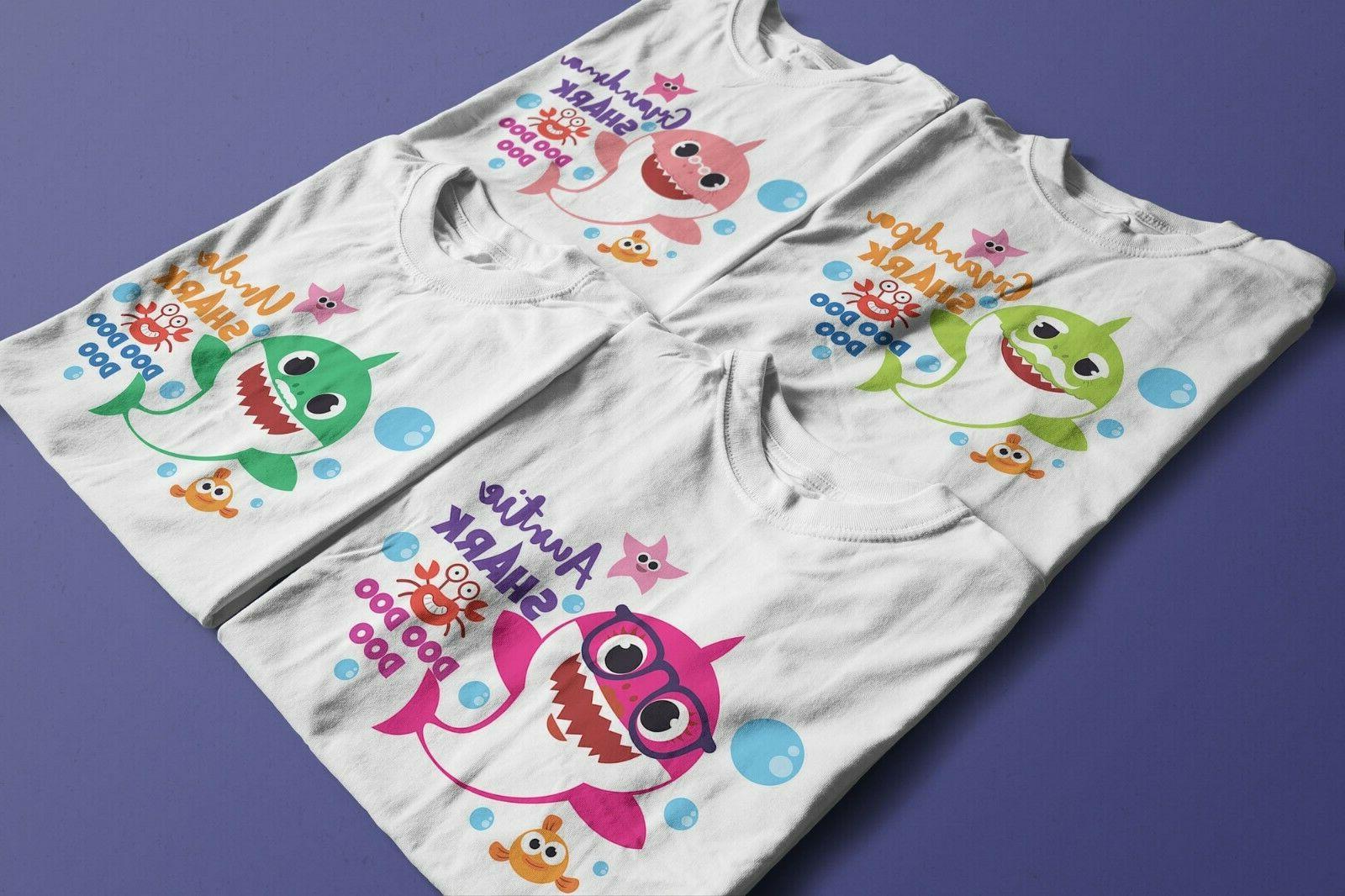 Baby Daddy Shark birthday White T-Shirts