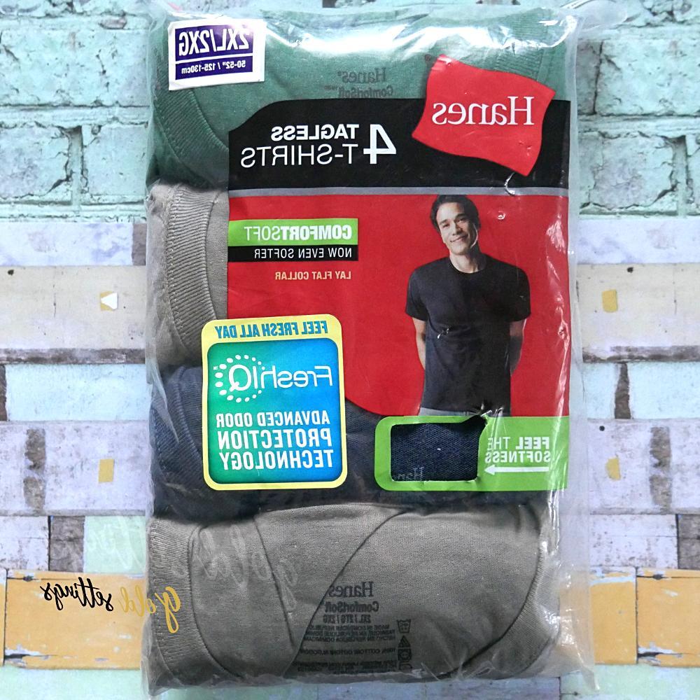 Hanes Men's ComfortSoft Crewneck T-Shirt 4-Pack Assorted 2XL