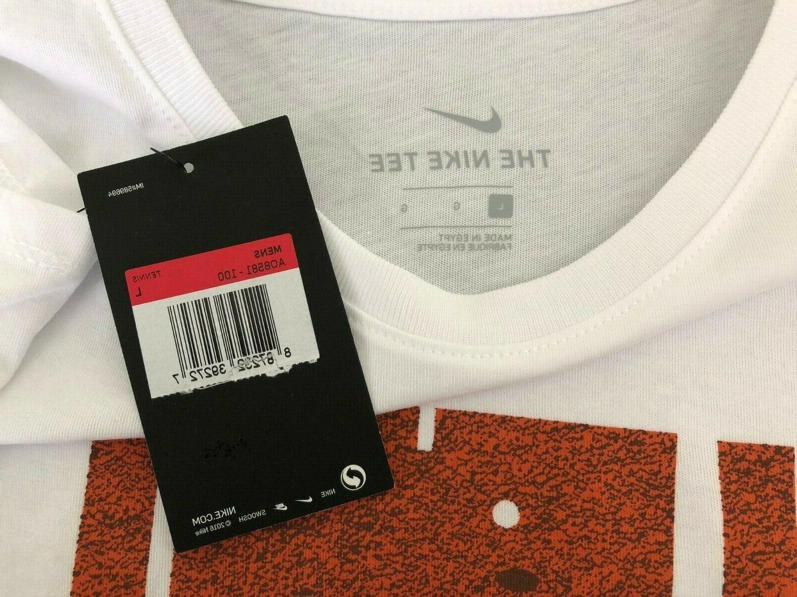 Nike Court French Paris T-Shirt White Size Large AO8581-100