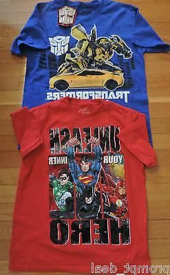 LOT OF 2 TRANSFORMERS, SUPERHEROES BOYS T-SHIRTS, SIZE 14-16