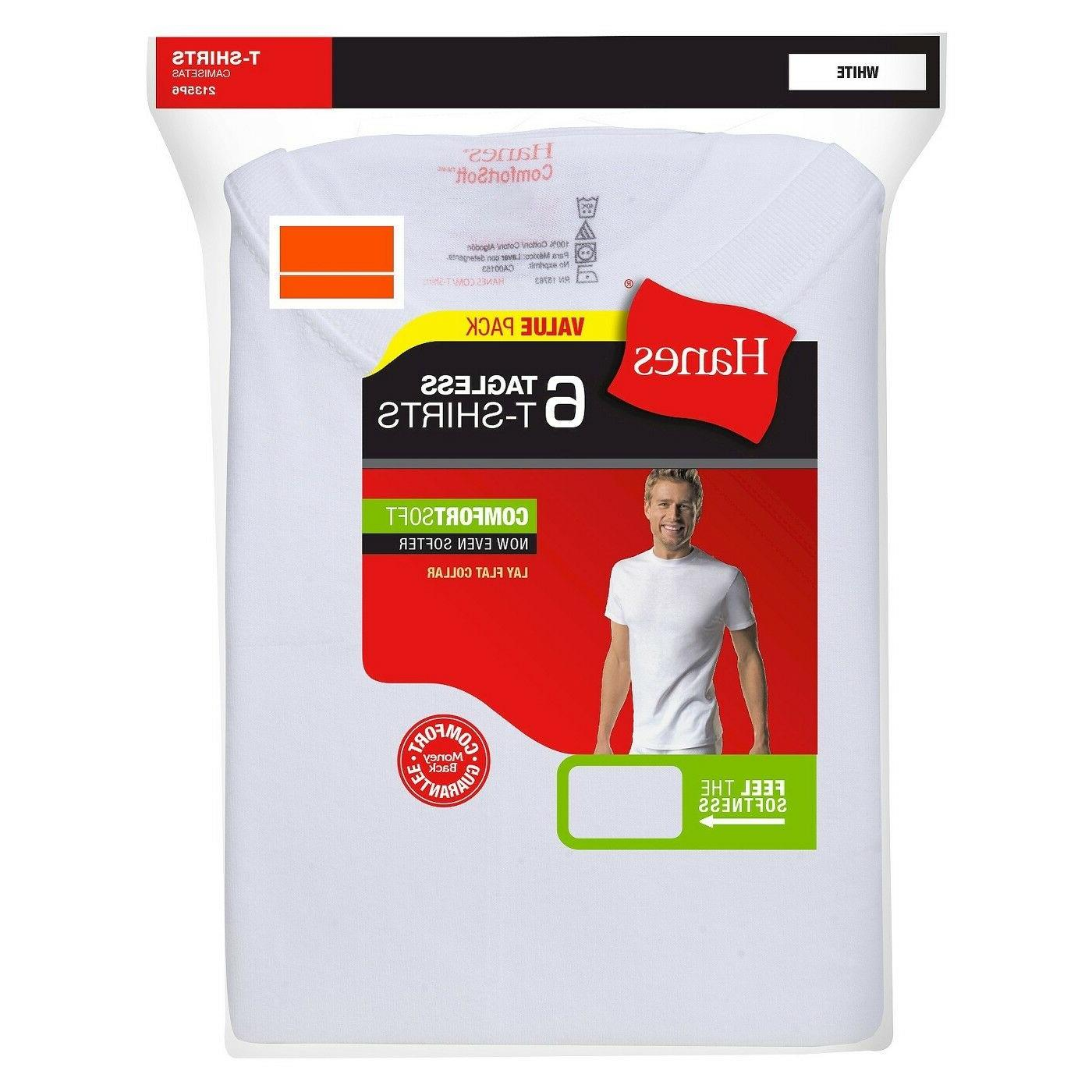 Hanes Men's White Crewneck T-Shirt 6-Pack Undershirt FreshIQ