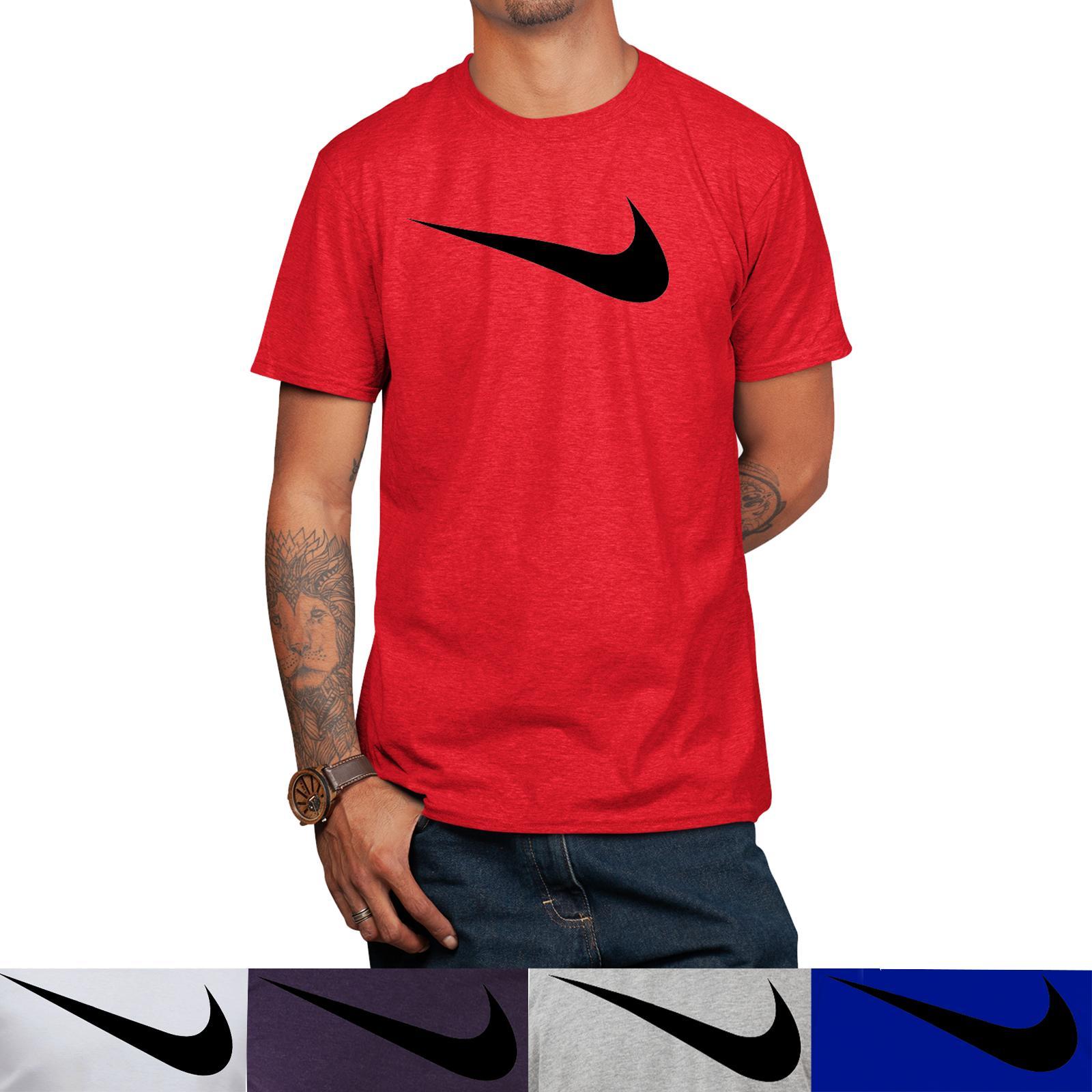 men s short sleeve swoosh logo printed