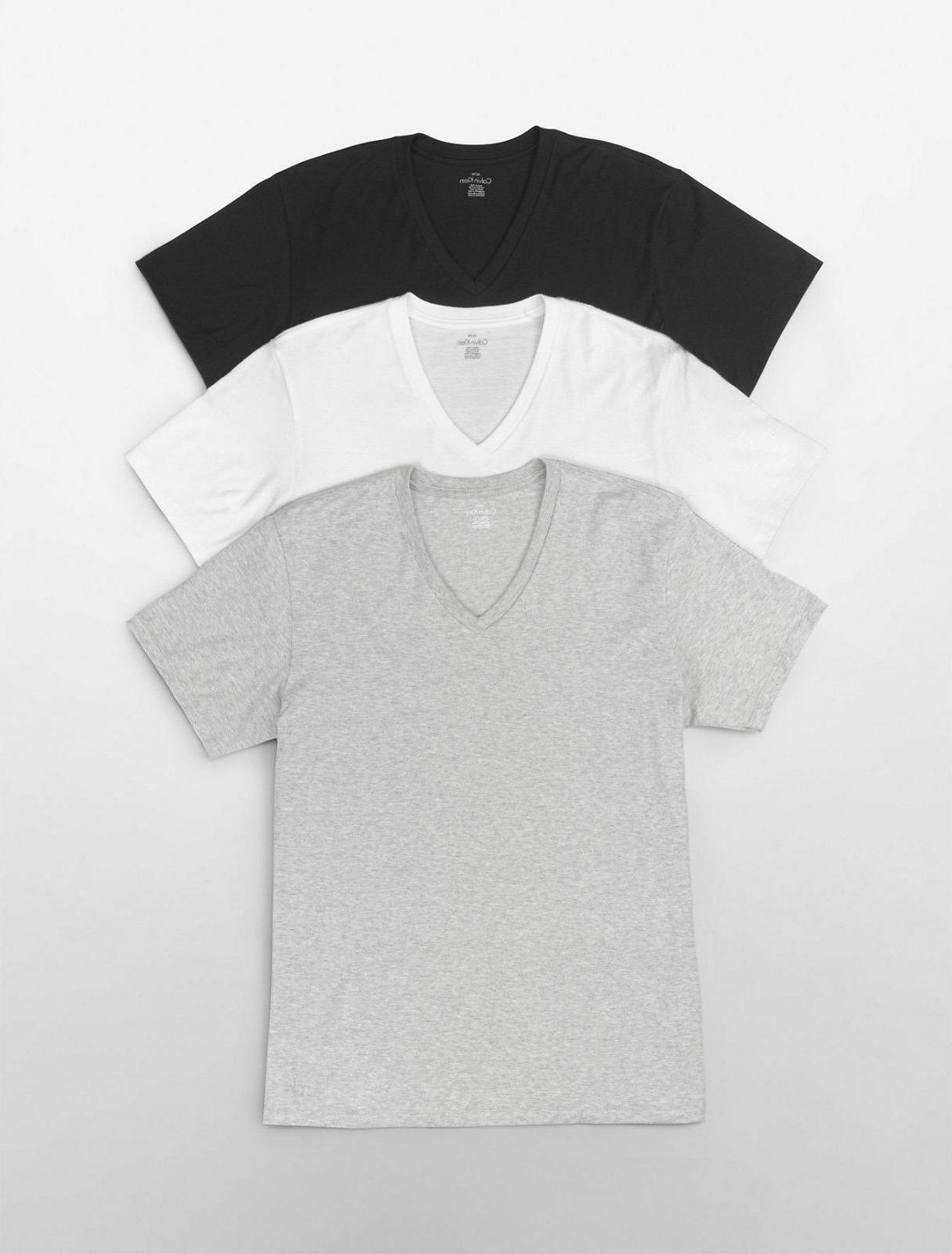 Calvin Shirts 3 Pack Cotton V-Neck Crew Tees