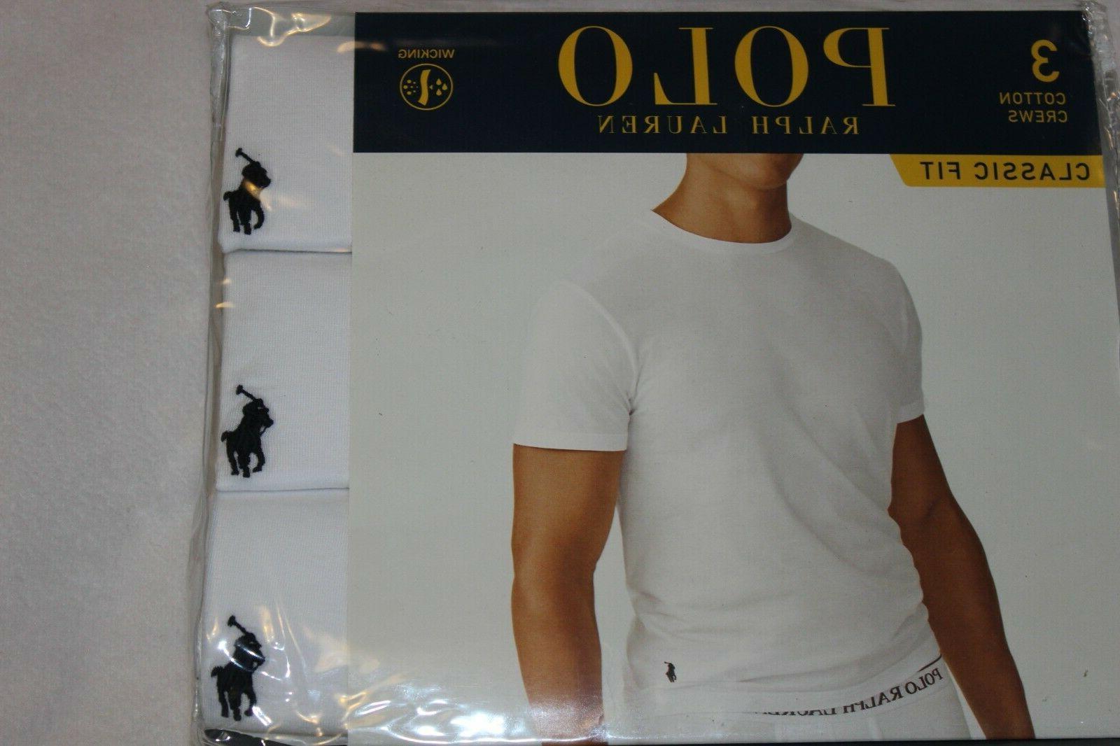 Polo White Cotton Crew 3-Pack Sizes S,M,L,XL