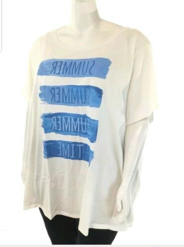 WOMAN WITHIN 5x 38/40 white neck tee, Graphic New