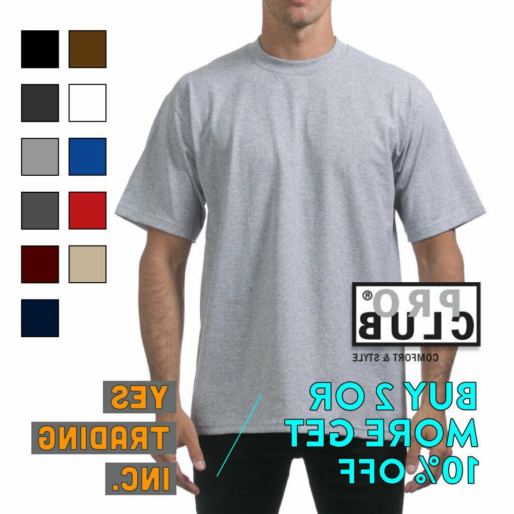 proclub mens plain t shirt heavyweight shirts