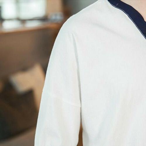 Retro Men Summer Linen Casual Tops Colors