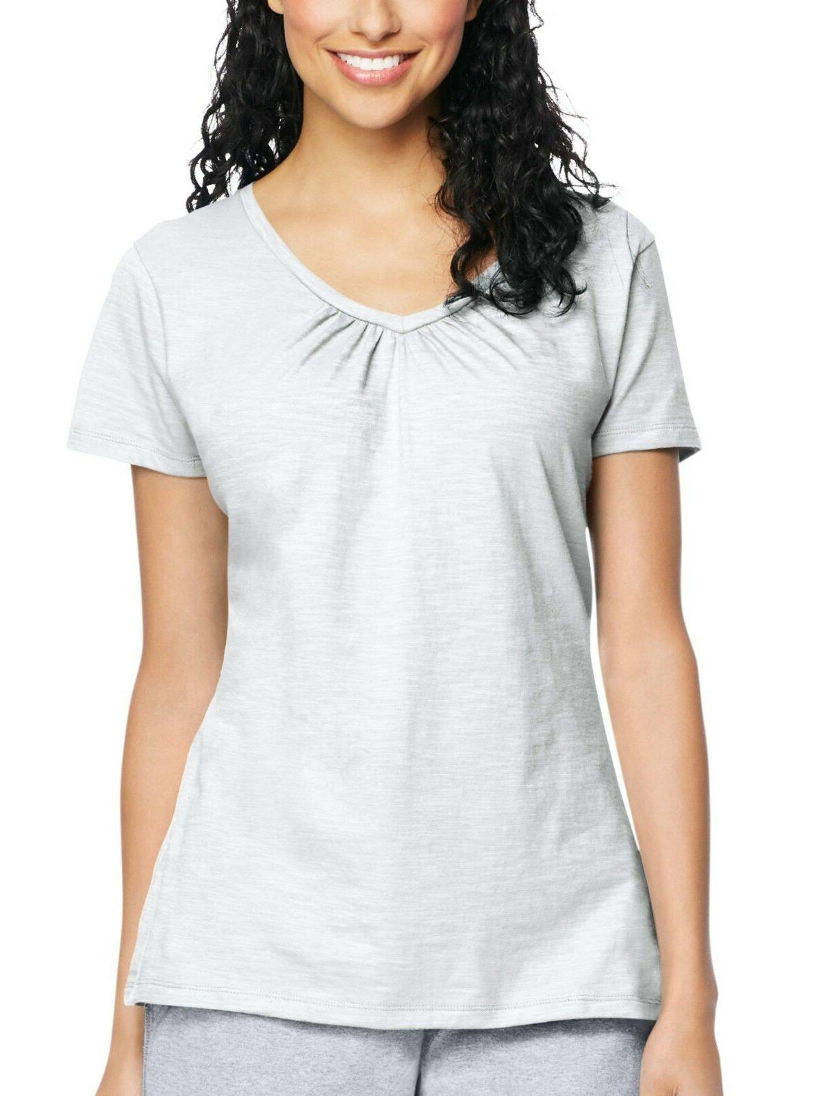 Hanes Women's Jersey Shirred V-Neck Tee XL