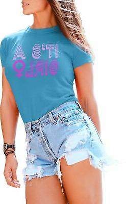T Shirts for Women It's a Girl Female Symbol Gender Reveal B