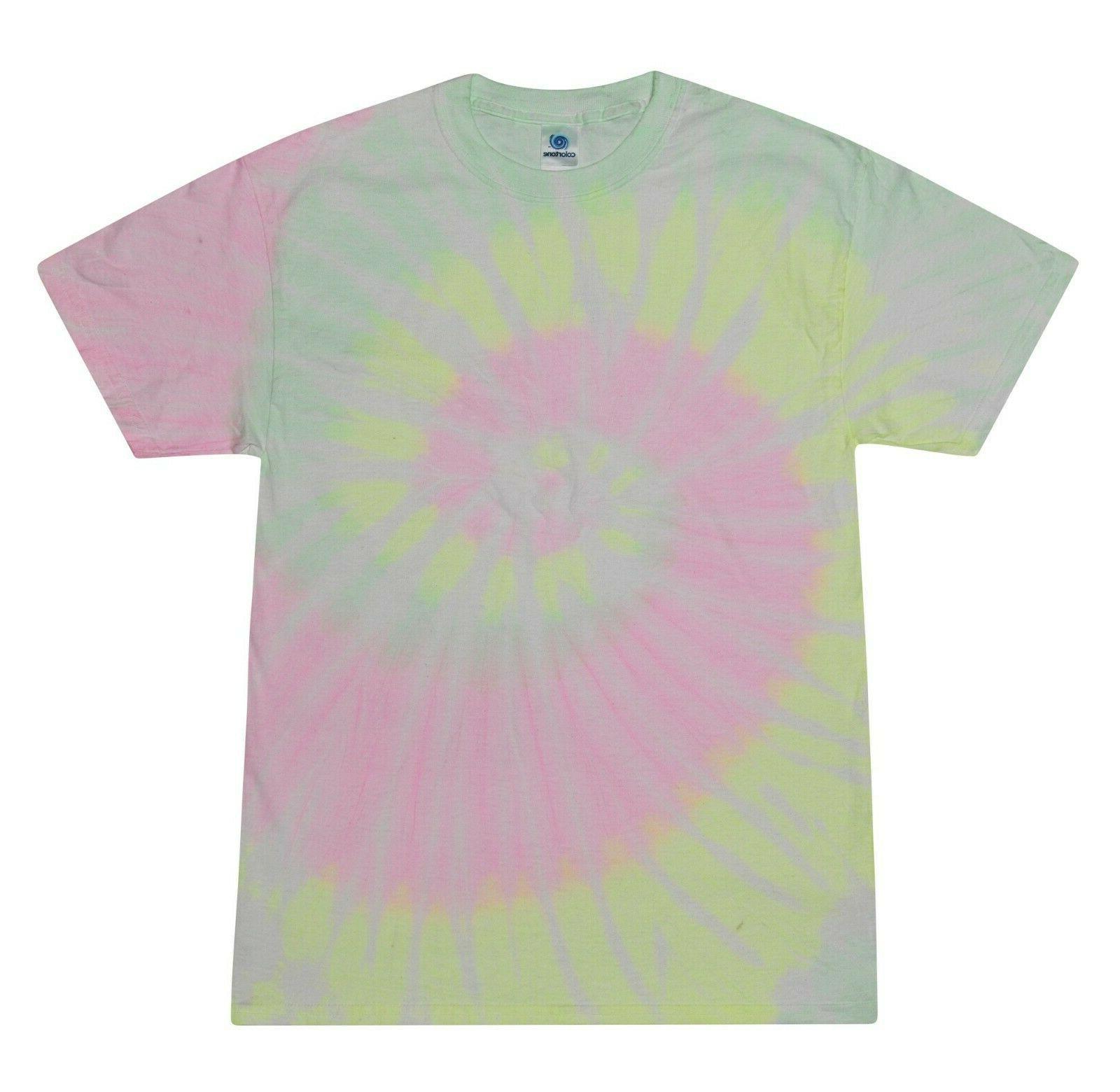 Vibrant Multicolor Tie T-Shirts Adult XXXXXL Cotton Colortone