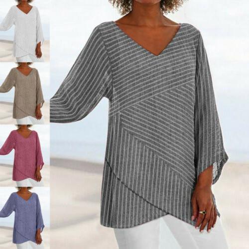 US Womens Stripe V Neck Long Sleeve Blouses Baggy Tops Tunic