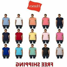 Hanes Ladies' 100% Cotton Tagless T-Shirt S-3XL Tee Shirt Wo