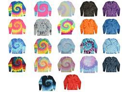 Long Sleeve Tie Dye T-Shirts Multicolor S M L XL 2X 3X Cotto