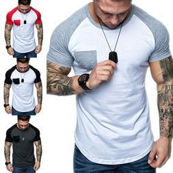 Men Crew Neck Pocket Short Sleeve Tee Shirt Summer Casual Sl