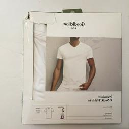 GOODFELLOW Men's 3 Pack Premium White V-Neck T-Shirts - Size