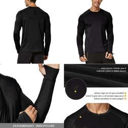 BALEAF Men's Athletic Long Sleeve Running Shirts Thumbholes