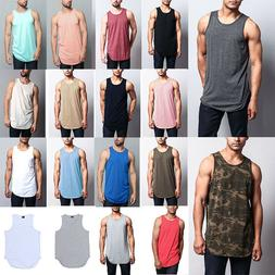 Victorious Men's Basic Long Length Curved Hem Tank Top Sleev