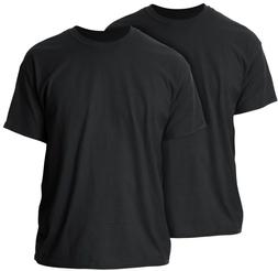 GILDAN MEN'S BLACK HEAVY WEIGHT CREW NECK T-SHIRTS - 2-PACK