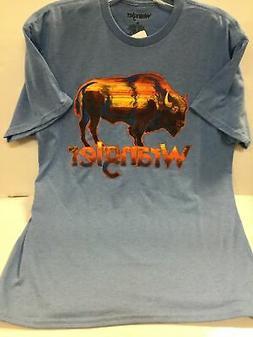 Wrangler Men's Blue Bison Graphic T-Shirt MQ2124B