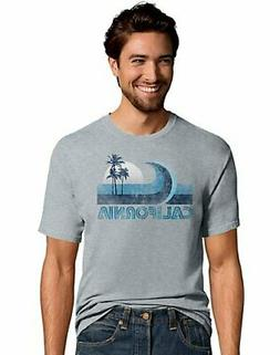Hanes Men's California Wave Coast Grey Blue T-Shirt Graphic
