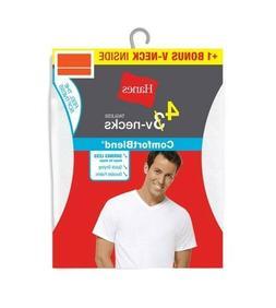 Hanes Men's ComfortBlend Tagless V-Neck T-Shirts in Large, 3