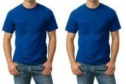 Gildan Men's DryBlend Workwear T-Shirts w/ Pocket 2-Pack Blu
