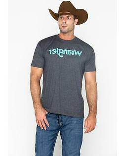 Wrangler Men's Grey Distressed Logo T-Shirt - MQ2131H