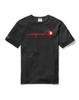 Champion Men's Life Heritage Flock 90s Logo T-Shirt: Black/R
