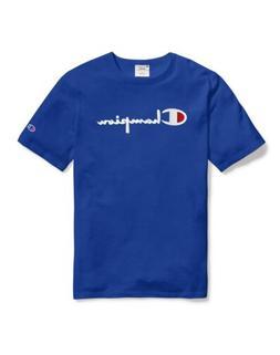 Champion Men's Life Heritage Flock 90s Logo T-Shirt: Blue/Wh
