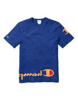 Champion Men's Life Heritage Wraparound Logo T-Shirt: Blue/G
