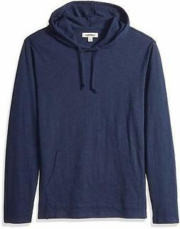 Goodthreads Men's Lightweight Slub T-Shirt Hoodie, Navy, Sma