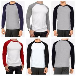 Men's Long Sleeve Raglan T-Shirt Baseball Hipster Tee Fashio