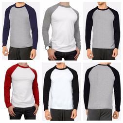 Men's Long Sleeve Raglan T-Shirt Baseball Hipster Tee Fashio