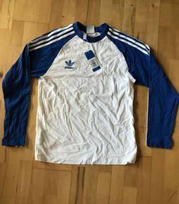 Adidas Men's LS Pullover T-Shirt M White Blue 3 Stripes Heav