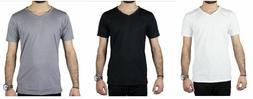 Men's New Slim Fit 100% Cotton V-Neck T-Shirts Sizes