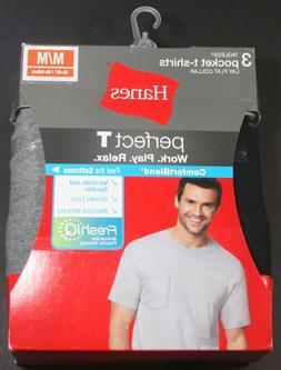 HANES MEN'S PERFECT T CREWNECK POCKET T-SHIRTS 3-PACK - MEDI