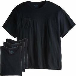 Fruit of the Loom Men's Pocket T-Shirts L-3X 4-PACK Black or