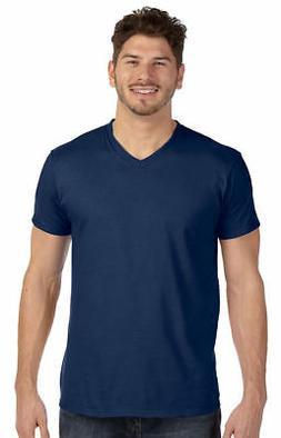 Hanes Men's Short Sleeve Taped Shoulders V-Neck Hemmed Botto