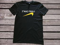 Men's soft cotton black T- shirt with funny Nike design in y
